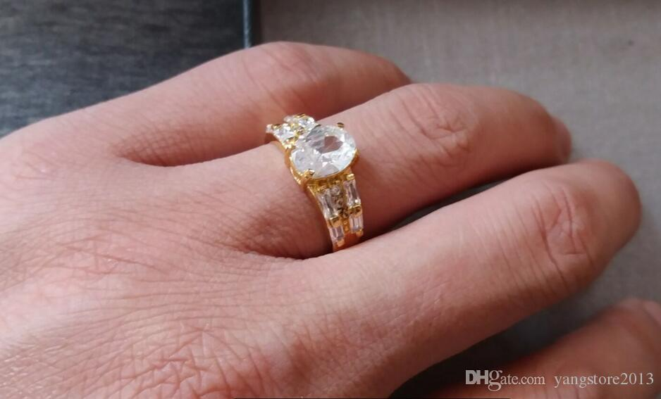 Gorgeous 14k Solid Yellow Gold White Sapphire Wedding Valentine Day Gift Engagement Big Ring For Women SZ7.5 P103gold wedding