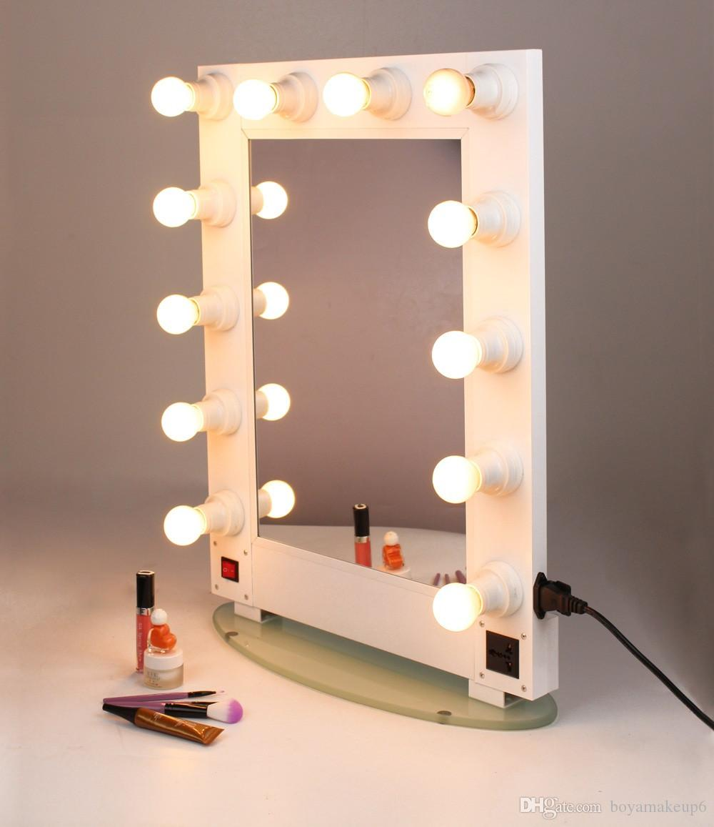 To Asia White Silver Black Hollywood Lighted Aluminum Wall Mounted Cosmetic Makeup Artist Salon Vanity Girl Mirror With Lights Magnifying