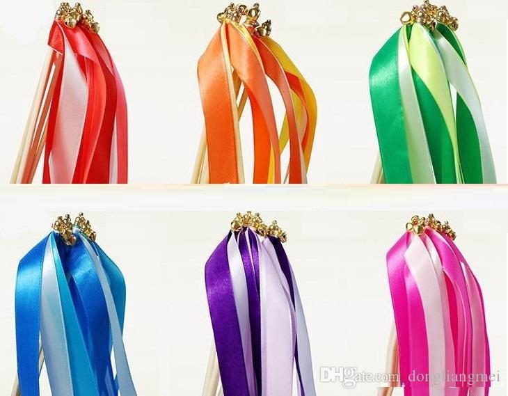 wirling ribbon streamers wedding favor ribbon stick wish wands with bell confetti Wedding Party Decoration Practical Favor #Z315