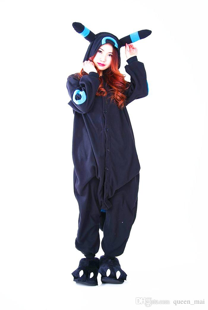 Cosplay Anime Blue Shiny Umbreon Onesie Halloween Party Costumes Pocket Monster Umbreon Pikachu Adult Women Men Pajamas Jumpsuit Romper Free