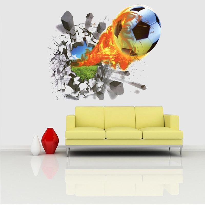 50*70cm Football Soccer Ball Through from the Football Field Wall ...