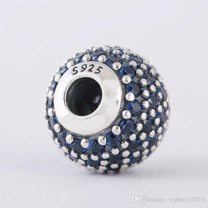 Novo Autêntico 925 Sterling Silver Silver Blue Crystal Pave Faith Essence Charm Beads Apenas Fit Mulheres Essência Charme Braceletes DIY Jóias Fazendo He5