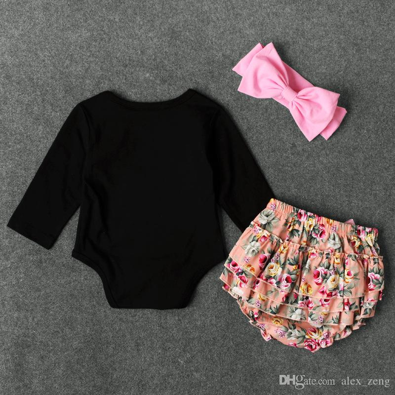 Spring Autumn Children INS Sets Baby Girl Long Sleeve Mamas Mini Letter Print Romper + Floral Print PP Pants +Headbands Suits