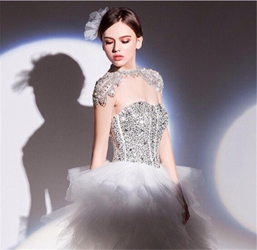 Wedding Prom Crystal Rhinestone Shoulder Chain Necklace Silver ...