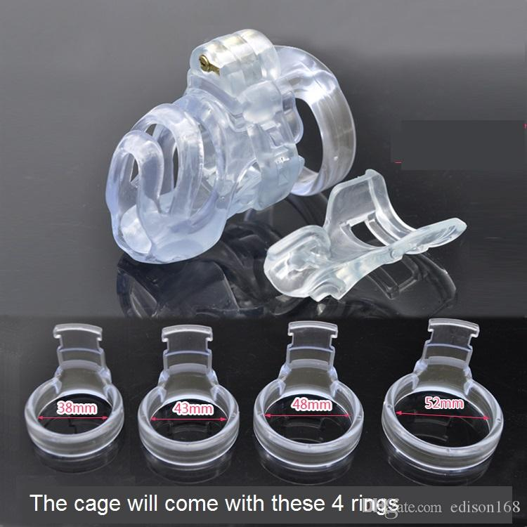 Natural Resin 3D Male Short Cock Cage PA Lock With 4 Size Penis Ring Chastity Device Adult Bondage BDSM Product Sex Toy A357