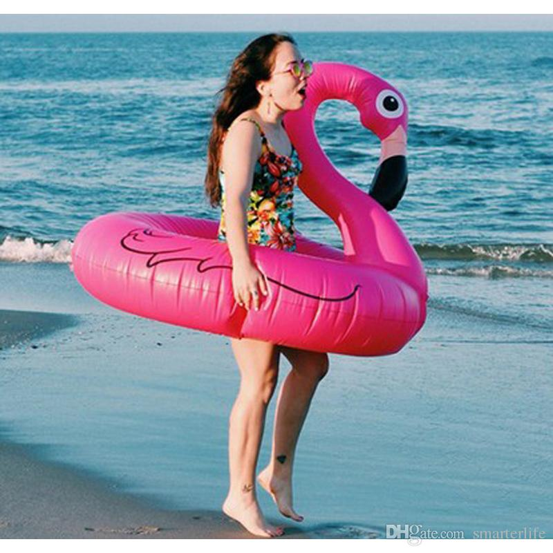 2018 120cm Pink Flamingo Swimming Ring Inflatable Floats Pool Toys Adult Swim Laps Water Raft