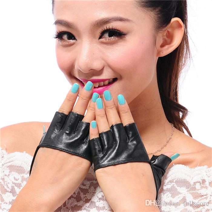 Fashion Half Finger PU Leather Gloves Ladys Fingerless Driving Night Club Pole Dancing Show Gloves Factory Wholesale