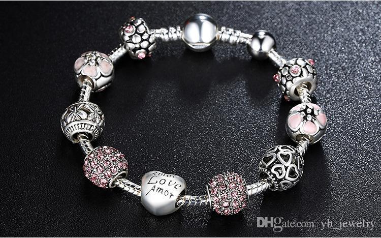 Heiße Art Feine tibetische Silber Perlen Armband Pandora Charms Glasperlen DIY Perlen Stränge Armband Rosa Weiß Blau Grün 4 Farben Optional