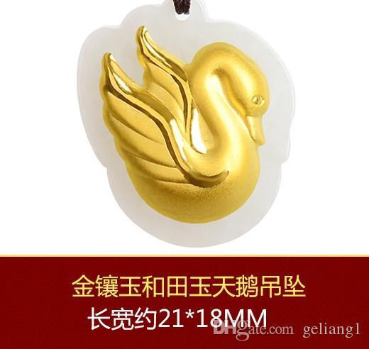 Güzel altın kakma xinjiang ve tian yeşim - kuğular kuşlar. Şanslı kolye kolye.