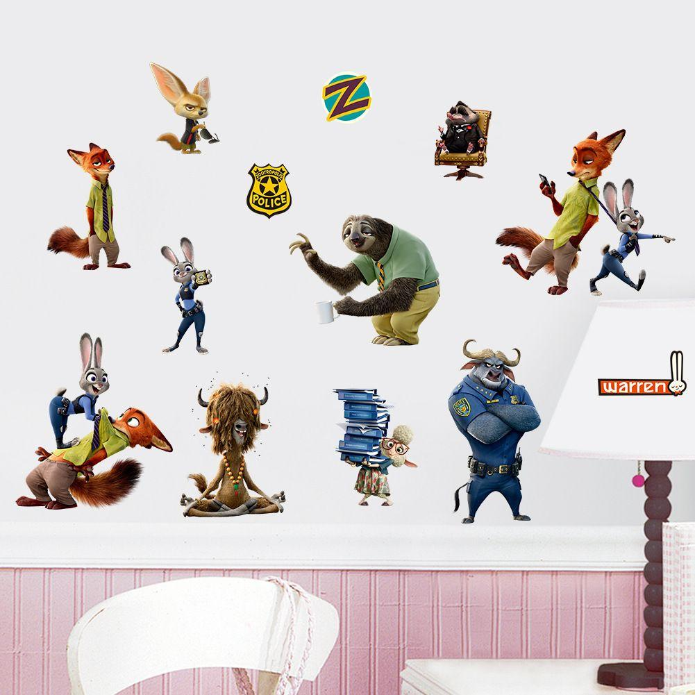 Tzootopia Animals Wall Stickers Decals For Kids Rooms Home Decoration Wall  Art Decorative Sticker Anime Posters Wallpaper Kids Large Vinyl Wall Decals  Large ...