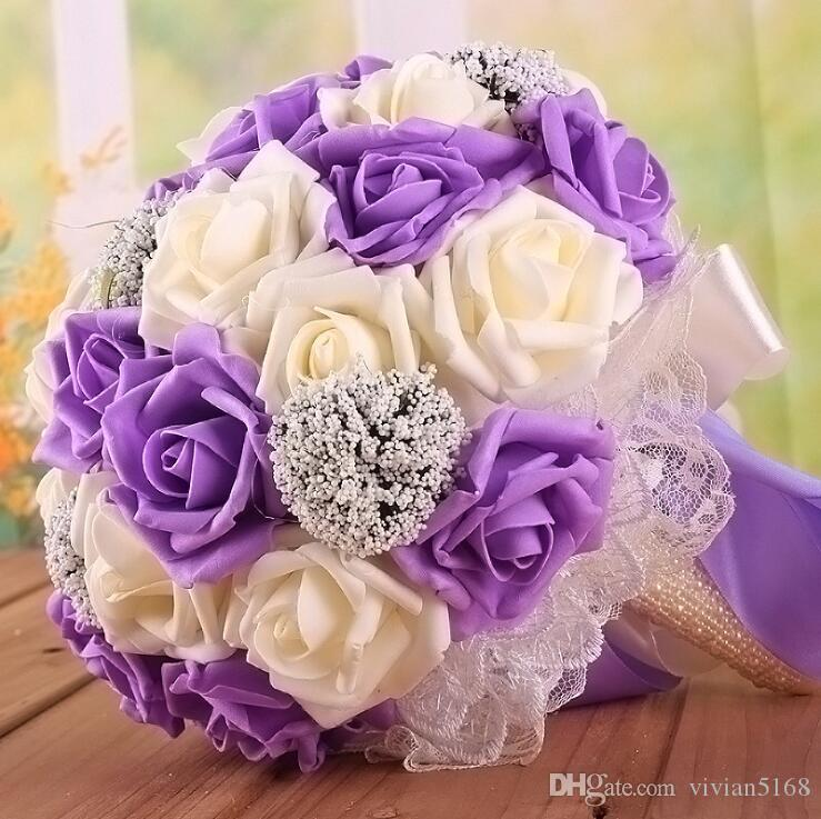 Schöne Braut Hochzeitsblumenstrauß Alle handgefertigten Brautblume Hochzeitsblumensträuße Künstliche Perlen Blume Rose Bouquet mit Geschenk 9 Farben