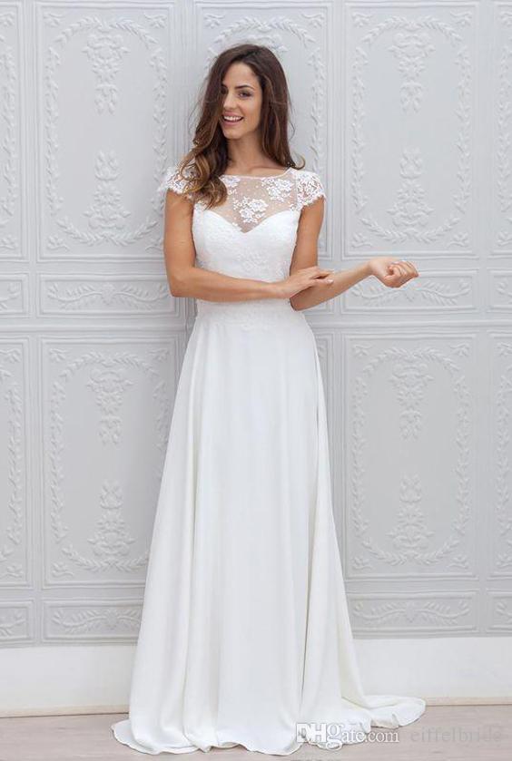 Discount 2017 Bohemian Wedding Dress Illusion Neckline Capped ...