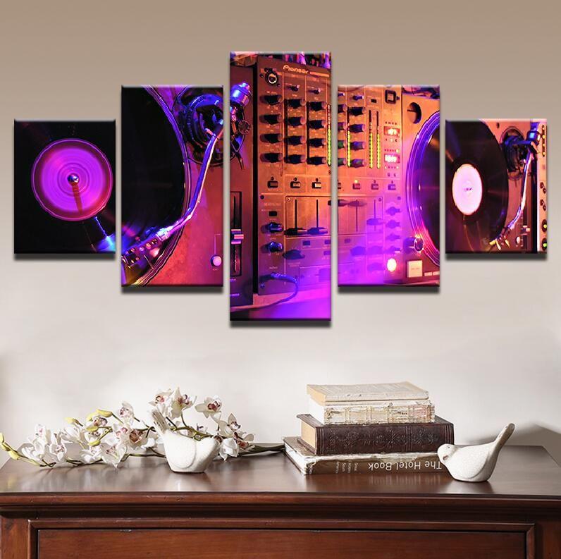 Abstrakte Bilder Wohnzimmer Wand Kunstdrucke Leinwand 5 Stücke Musik DJ Konsole Instrument Mixer Malerei Wohnkultur Poster