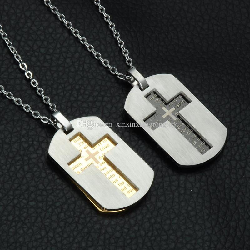 New cross pendants necklaces christian jewelry bible lords prayer new cross pendants necklaces christian jewelry bible lords prayer dog tags gold color stainless steel necklace christmas gift for men new cross pendants aloadofball Images
