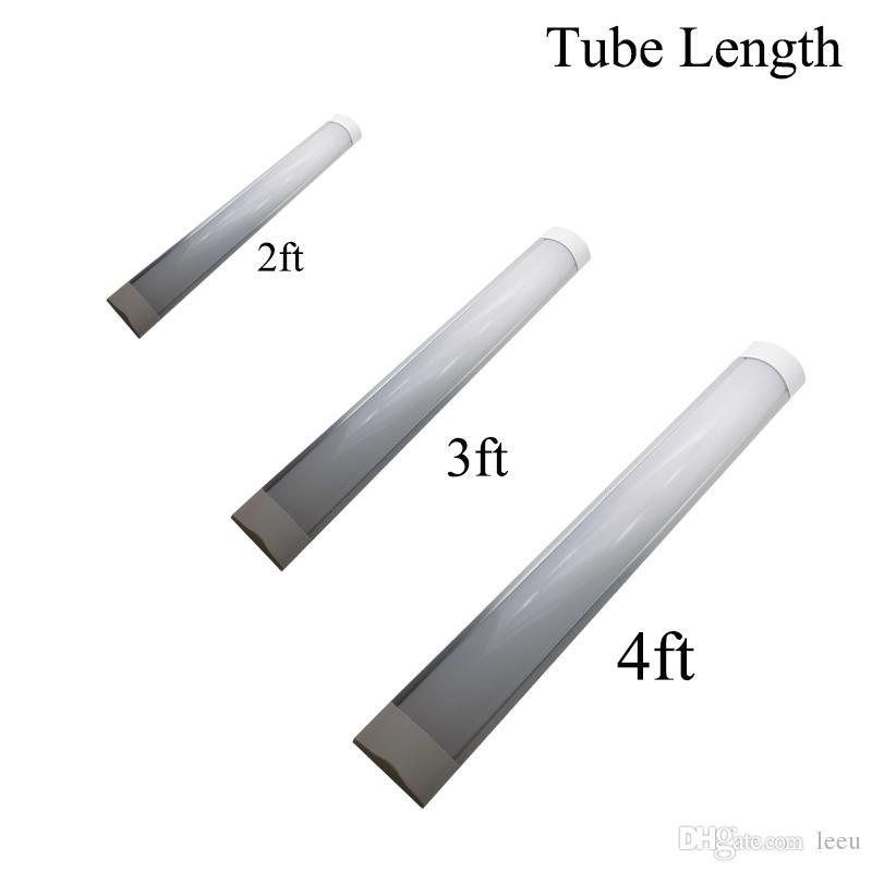 Batten LED de superficie Tubos de doble fila Luces 2FT 3FT 4FT Luminaria T8 Purificati LED Tubo de luz tri-prueba 18W 36W AC 110-240V