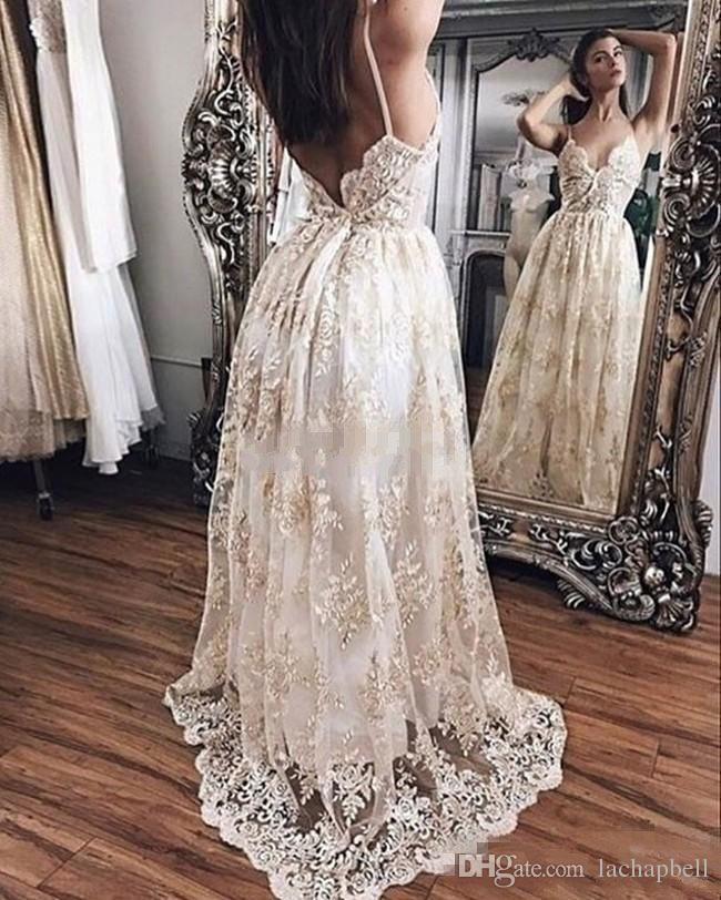 2017 Boho Full Lace Evening Gowns A Line V Neck Spaghetti Sweep ...