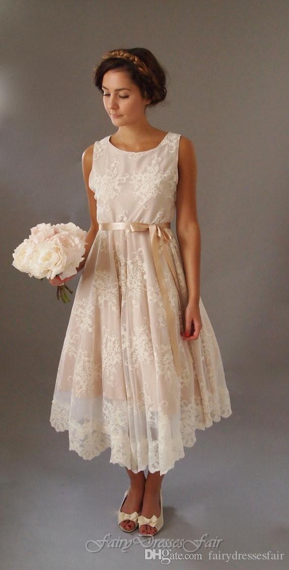 Discount Real Image Designer 1920s Style Boho Vintage Scoop Neckline Sleeveless Ivory Lace Tea Length Beach Wedding Dresses Best A Line