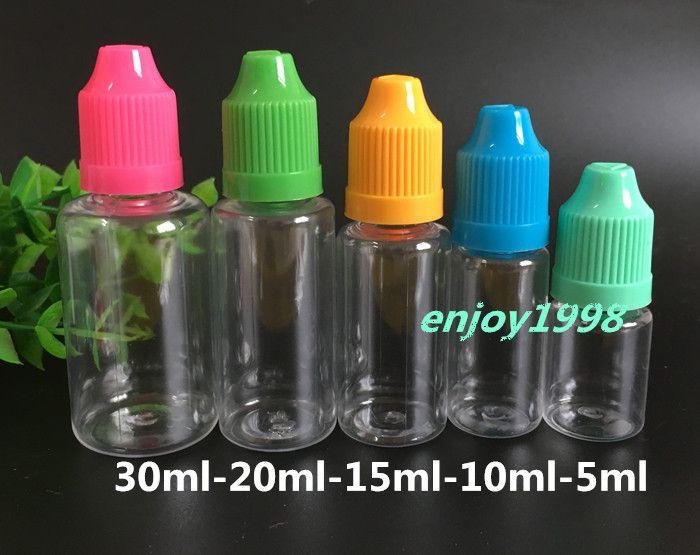 1000шт ПЭТ E Liquid Ejuice 5мл Бутылки 5мл Пластиковые бутылки для E сок иглы бутылки с восковыми шапки Длинные Наконечник Бесплатная доставка DHL