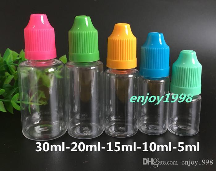 PET E Liquide eJuice de Bouteilles 5ml de bouteilles en plastique pour E jus Bouteille à aiguilles avec Childproof Caps long Astuce gratuite DHL Livraison