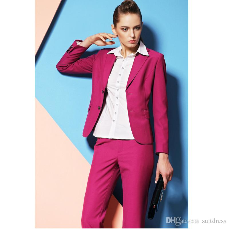2017 Hot Pink Pant Suits For Women Custom Made Ladies Business ...