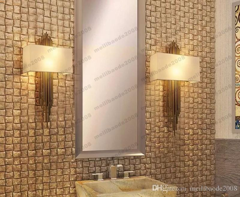 NEW E14*2 metal pipe copper wall lamp indoor lighting bedside lamps wall lights for home decorative wall sconce H95CM*W45CM MYY