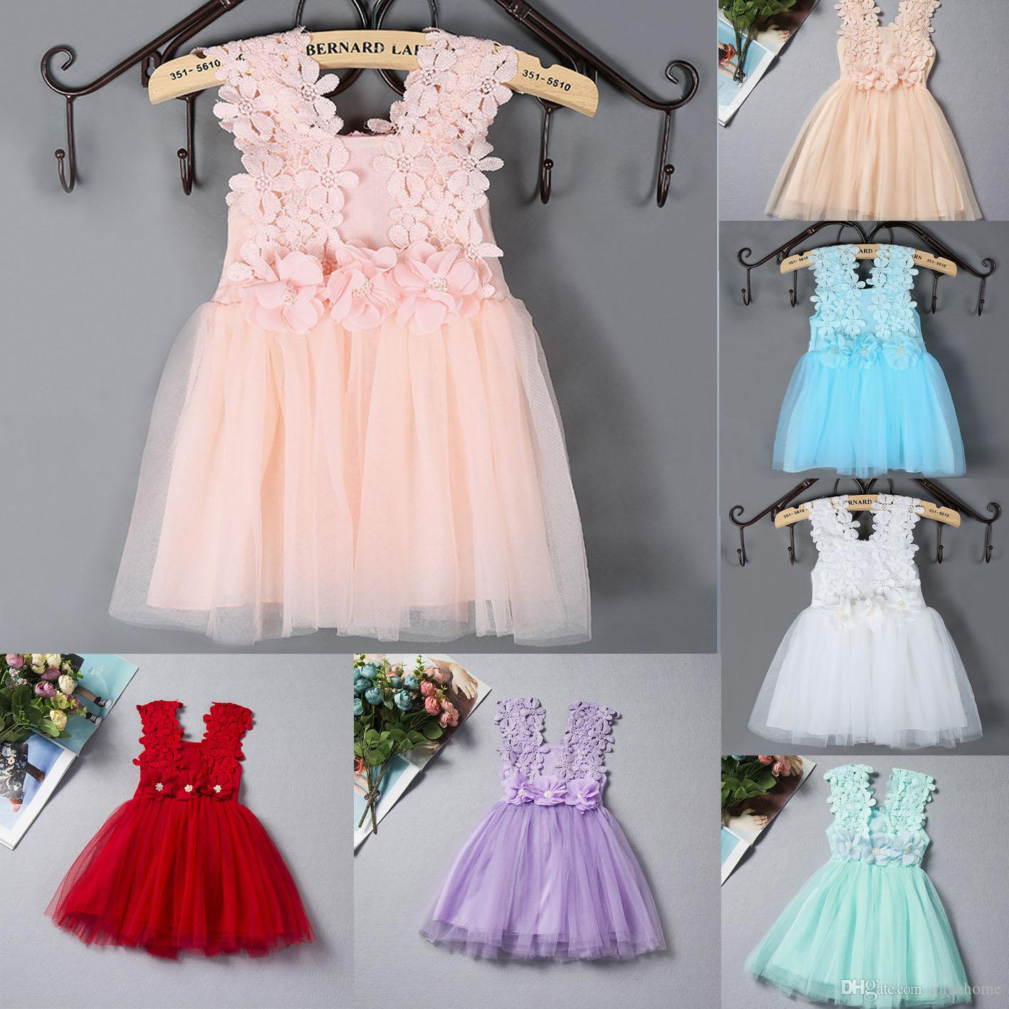 Best 2016 Summer Baby Girls Clothes Lace Crochet Tulle Tutu Dresses