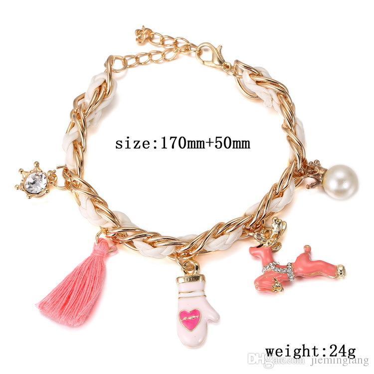 huge discount b1c67 73a5e Gioielli moda 2016 Bracciale portafortuna natalizio 7 pollici bracciale  portafortuna bracciale portafortuna rosso regalo natalizio