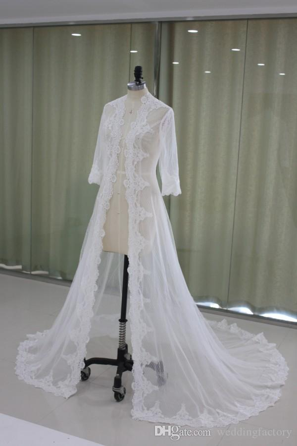 Real Picture Wedding Cape Women's Wrap Coats Jackor Half Sleeve Tulle White Ivory Wedding Capes Lace Appliques
