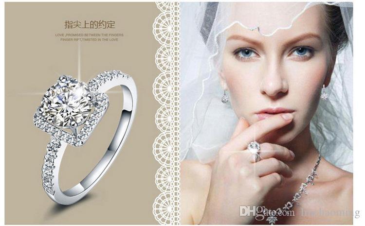 En çok satan 925 Ayar Gümüş Düğün Parti Yüzükler kübik zirkonya Yüzük Fit Suit Kadınlar Pandora ile güzel takı toptan