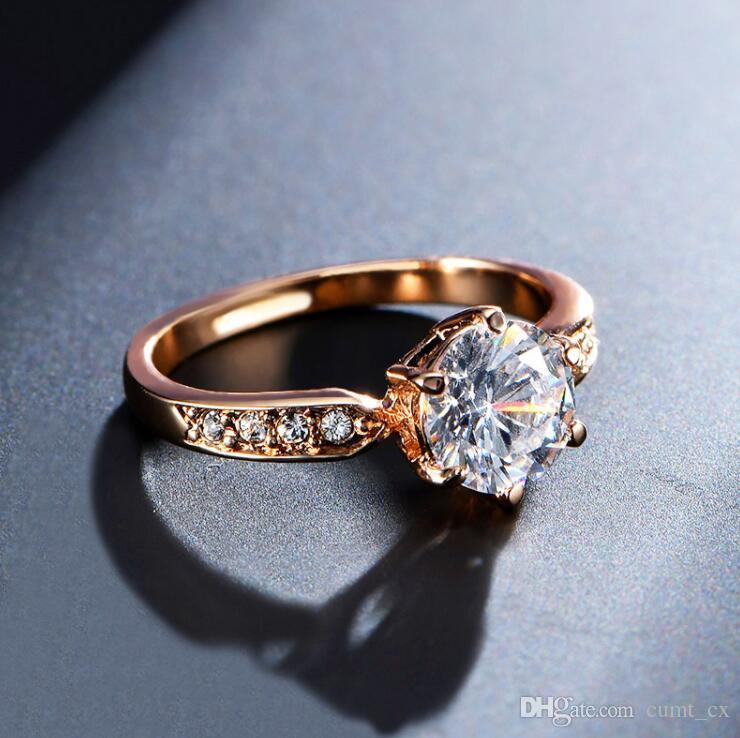 2019 Engagement Rings For Women Rose Gold Color Wedding Rings Female