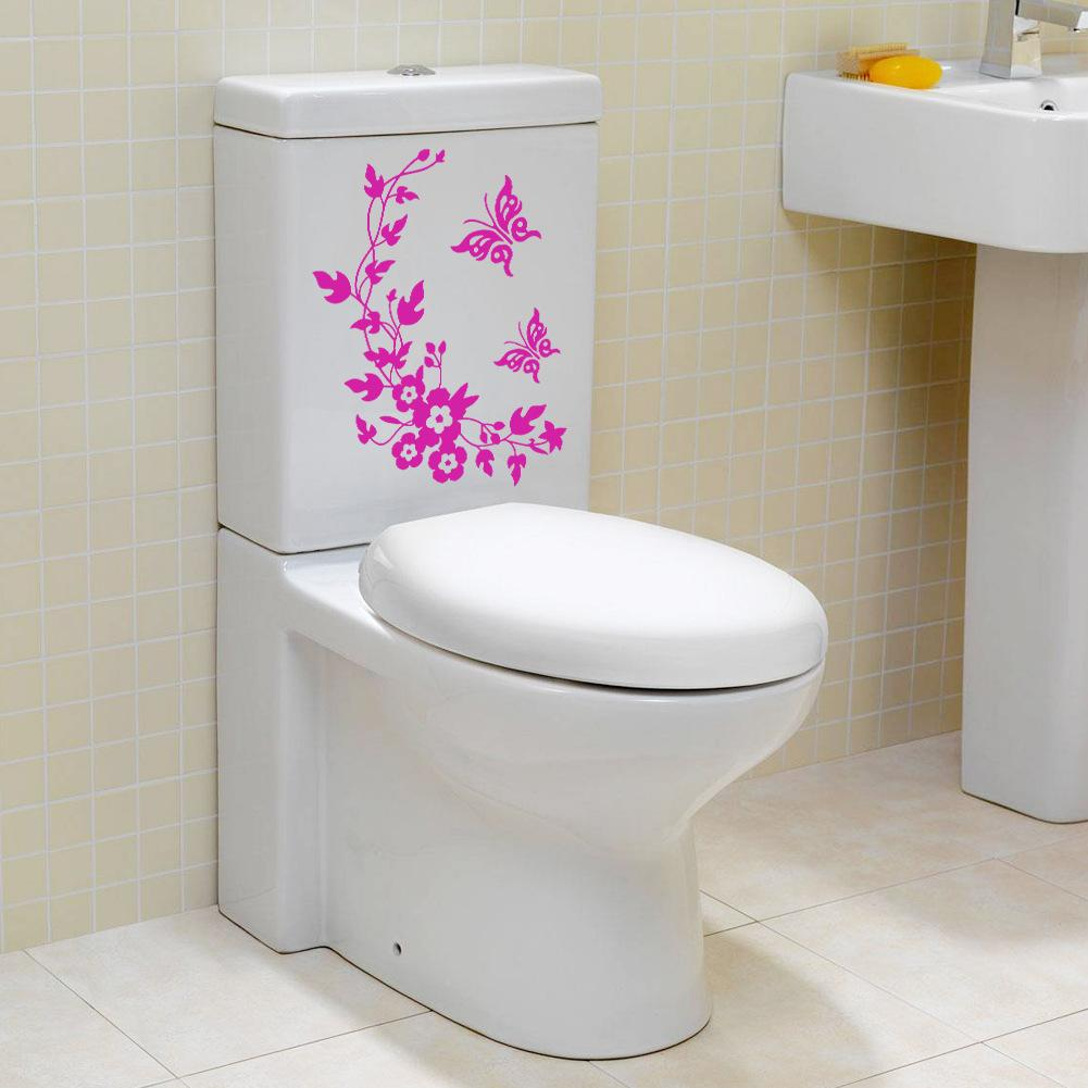 Best Butterfly Flower Bathroom Wall Stickers Home Home Decoration - Toilet wall stickers