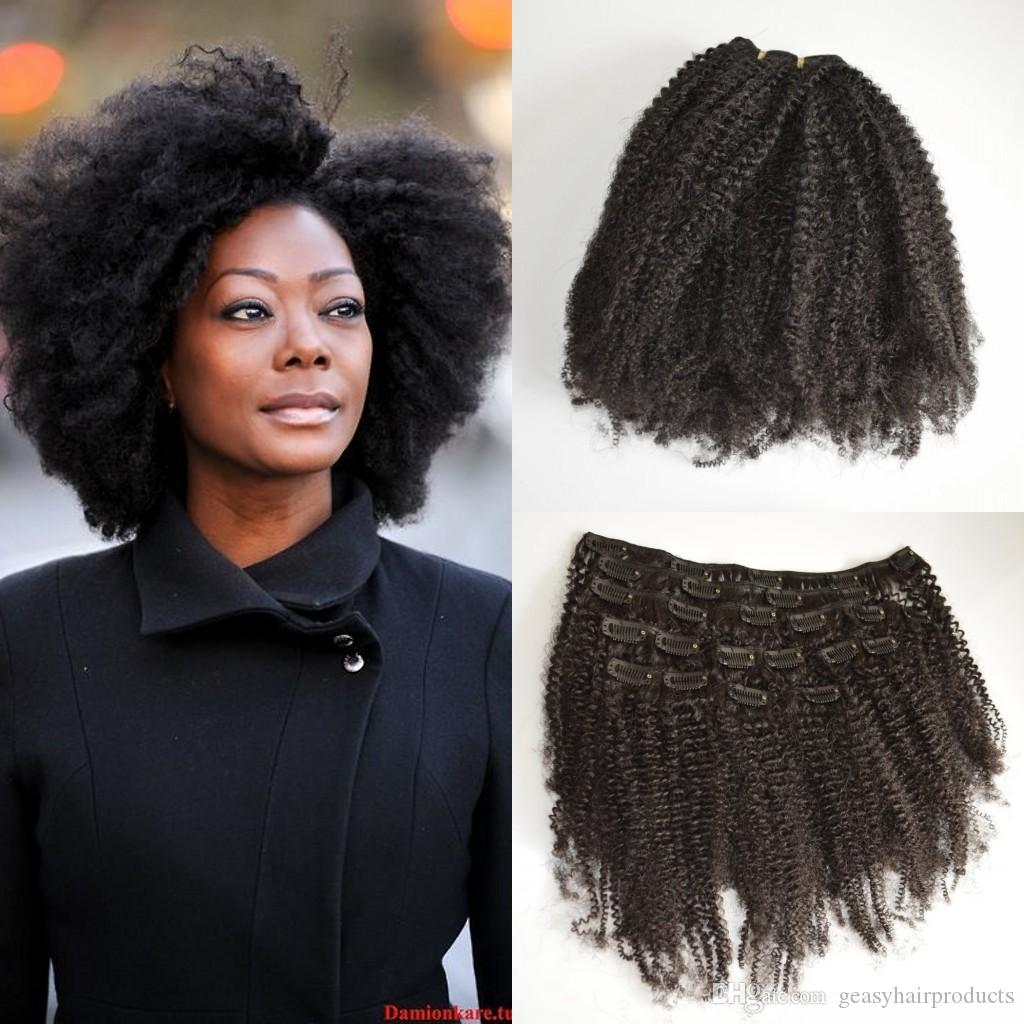 Vietnamese Hair Afro Kinky Curly Clip On Hair Extensions For Black