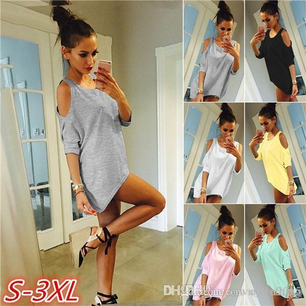 940e1db14f Plus Size S XXXL Women S Off Shoulder Half Sleeve T Shirt Tops Blouse Sexy  Ladies Irregular Hem Casual Tops Loose Tees Long Dresses Sale Dr Ess From  ...