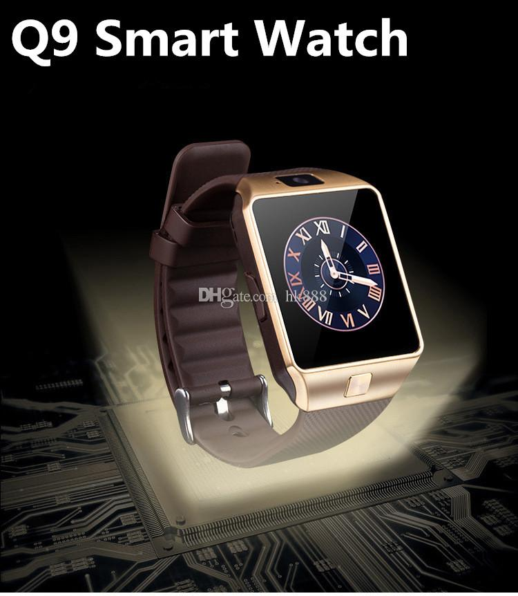 Q9 Smartwatch Bluetooth Smart Watches GSM Watches with Genuine Leather Band  Camera Sleep Monitor DHL