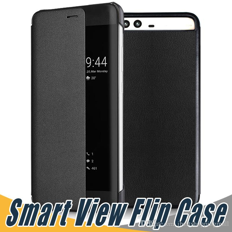 cheap for discount 85d76 d84ab Smart View Flip PU Leather Case Cover Shell Smart View Window For Huawei  Mate 9 Pro P10 Plus
