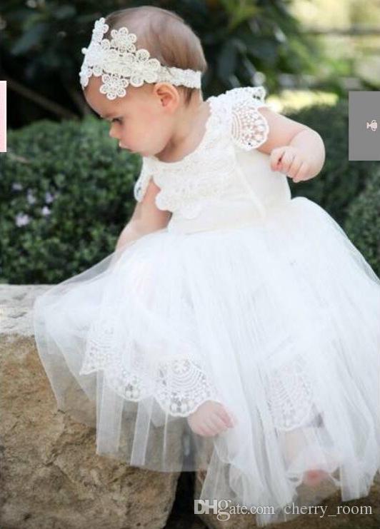 Großhandel Neugeborene Taufkleider White Lace Tüll Infant Prinzessin ...