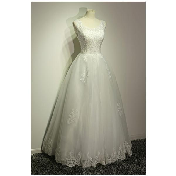 Colher Pescoço Lace Tulle vestido de Baile Vestido de Noiva Com Pérolas 2017 Do Vintage Vestidos De Noiva Lace Up