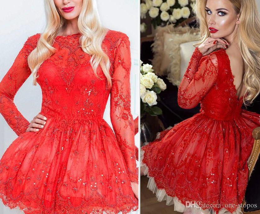 acc198bb14225 Short Red Lace Homecoming Dresses Sparkly Crystal Bateau Long Sleeves  Cocktail Party Gowns Mini Prom Evening Dress Dresses For Formal Dresses  Online Shop ...