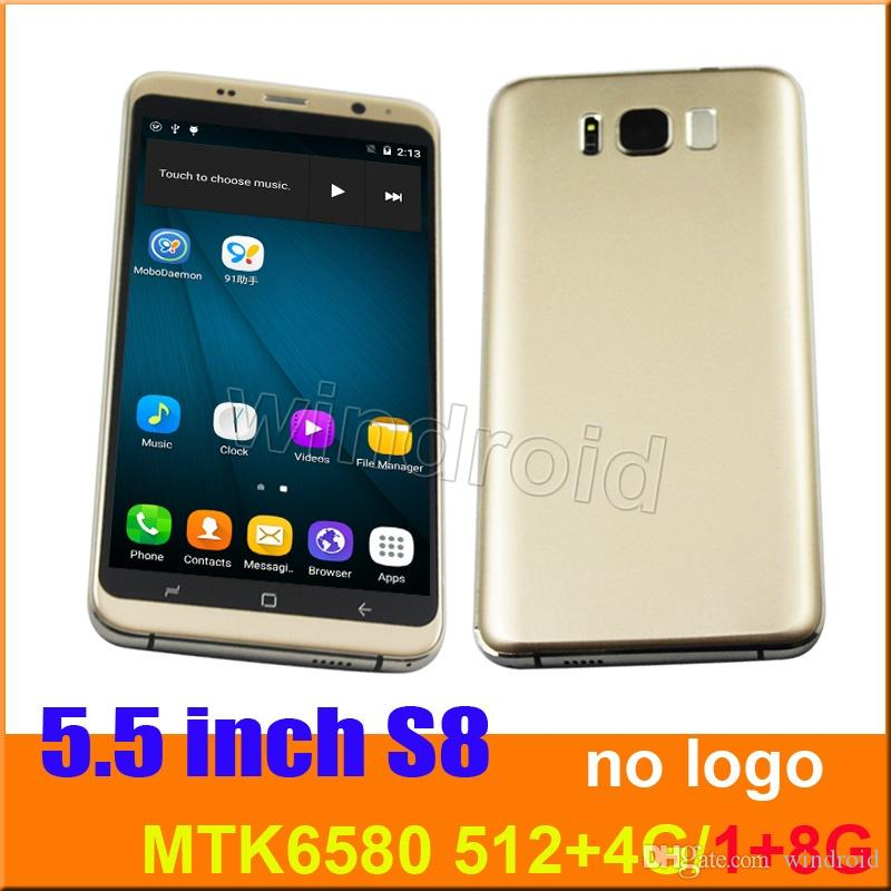 5.5 inch s8 Quad Core MTK6580 Android 6.0 Smart phone 1G 8GB Dual camera 5MP SIM 540*960 3G WCDMA Unlocked Mobile Gesture Free case No logo