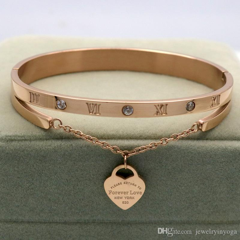 Stainless Steel Roman numerals Heart Charms Gold Bracelet drop shipping