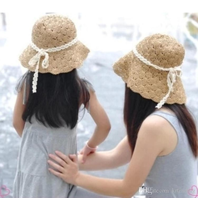 Baby Girl Lace Bowknot Straw Hat Folding Sun Hat Summer Parent Child Straw  Hats Bow Floppy Beach Hats Collapsible Hat Children UK 2019 From Krtrading b136b4f8a7a