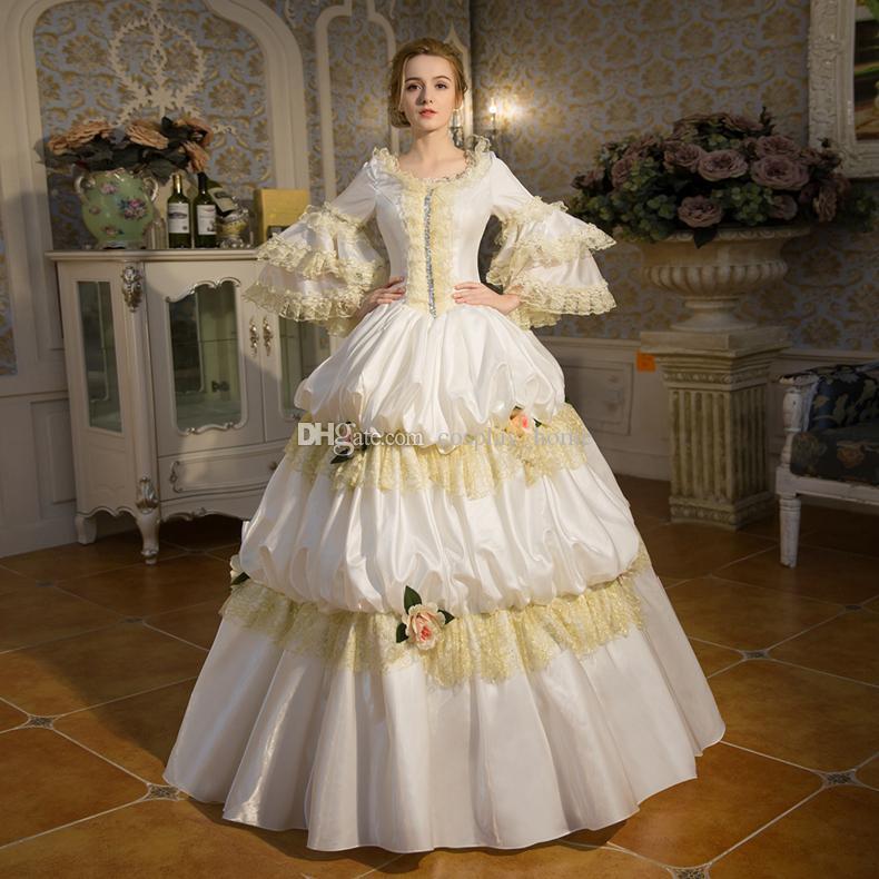 Discount Customized 2016 Elegant White Lace Dance Dress 18th Century ...