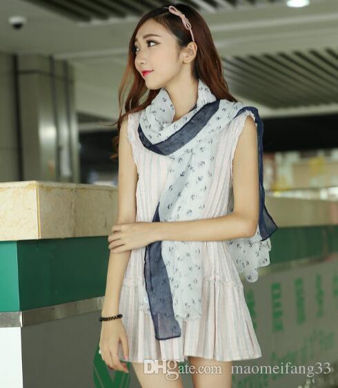 Ancla de barco Bufandas de diseño para mujer Damas de algodón ropa de moda bufanda Cálido suave manta de invierno Pashmina bufanda de gran tamaño tartán chal
