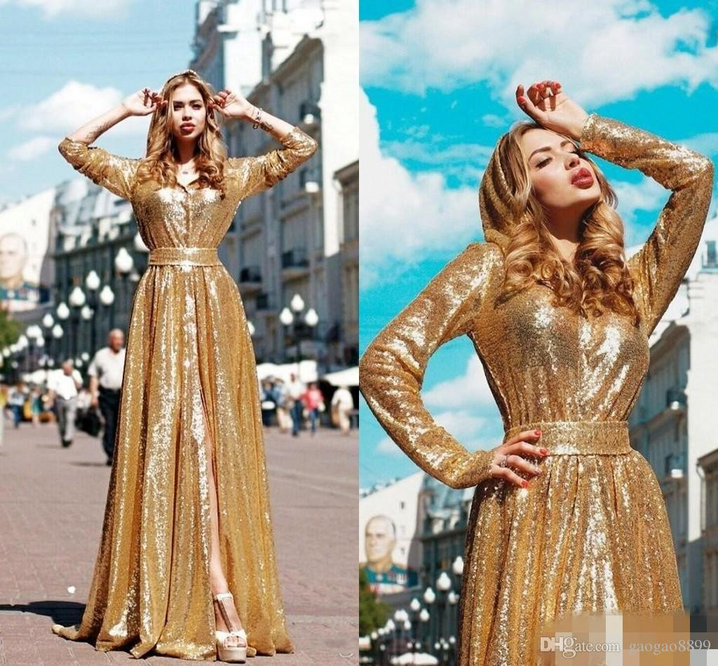 2019 Fall Sparkly Golden Sequins Prom Dresses With Sash Front Split With Long Sleeves Fashion Glittering A-Line Party Dresses Evening Gowns