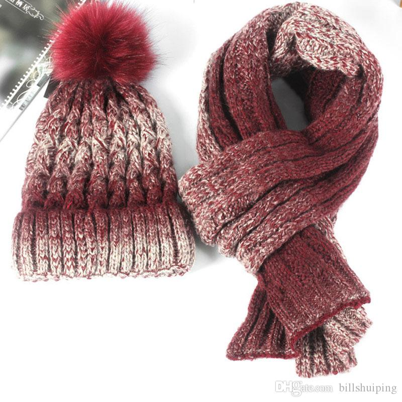 Hot sale Winter scarves hats sets for men women warm knitted Hats & Scarves Sets Fashion Accessories