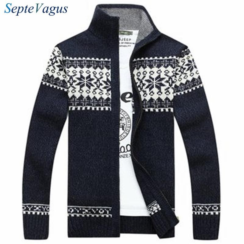 Brand Man Sweater 2016 Winter Dress Warm Thick Stand Collar Sweater Mens Casual Knitted Zipper Jacquard Cardigans Mens jumpers