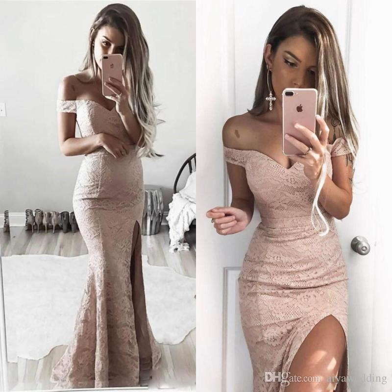 Full Lace Evening Dresses 20187 Mermaid Sexy Split Formal Gowns Off
