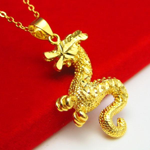 For a long time does not fade gold necklace pendant 18K mixed female dragon men's gold chain gold imitation gold jewelry gifts