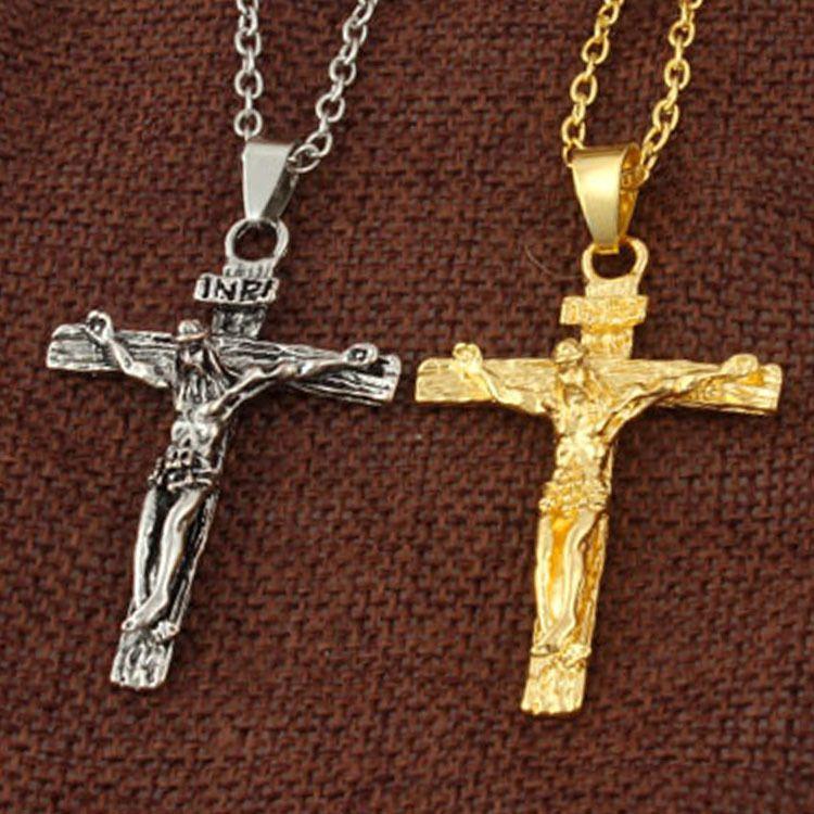 Fashion Father Jesus Men's Cross Titanium Necklace pendant the god Bless peace gold and white clour cross