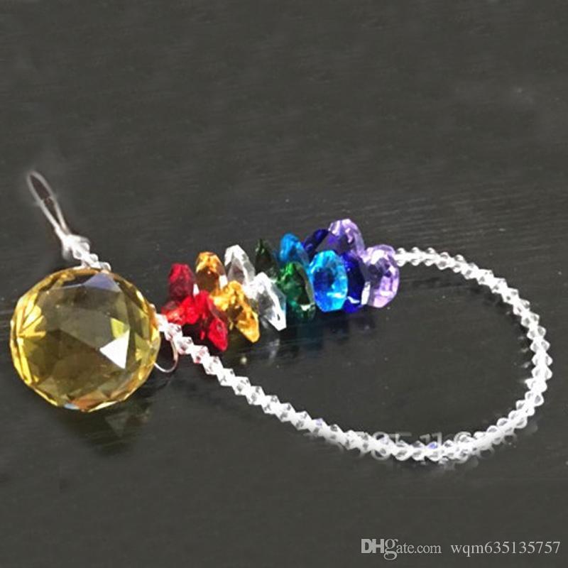 40mm Chakra Glass Crystal Suncatcher Prisms Pendant Hanging Ball Pendants Home Decorations Rainbow Maker W109-40mm